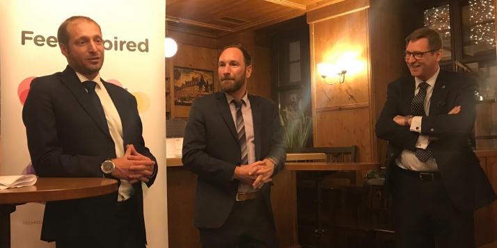 Une délégation de l'UMons reçue à Munich - De g. à d.: M.Mathieu Quintyn, M. Quentin Derzelle, M. Alexander Homann