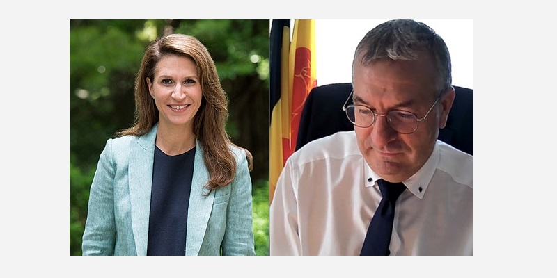 Caroline Mulroney, Ministre des Affaires francophones, et Pierre-Yves Jeholet, Ministre-Président de la Fédération Wallonie-Bruxelles