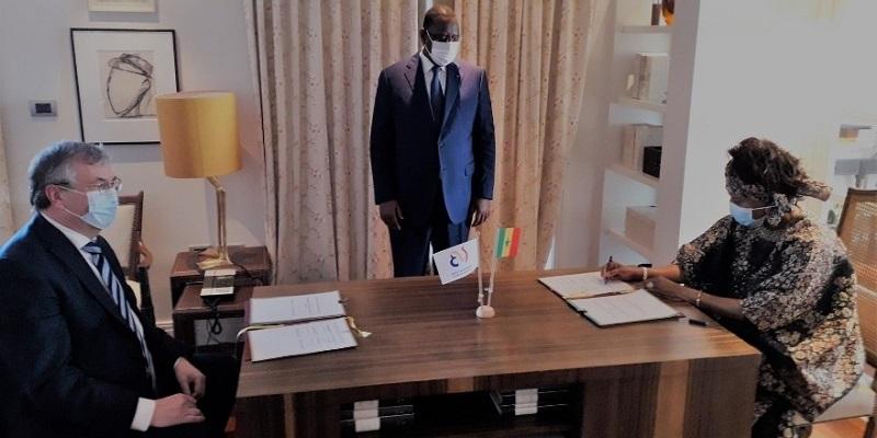 Pierre-Yves Jeholet, Ministre-Président de la FWB en charge des relations internationales, Macky Sall, Président de la République du Sénégal et Aïssata Tall Sall, Ministre des affaires étrangères et des Sénégalais de l'Extérieur
