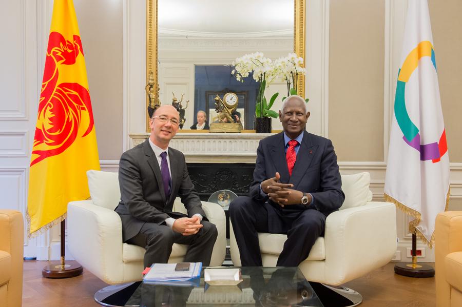 Rudy Demotte, Ministre-Président de la Fédération Wallonie-Bruxelles et Abdou Diouf, Secrétaire général de la Francophonie