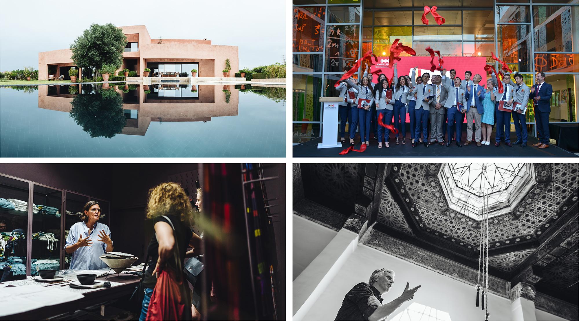 Photo en haut à droite : la première promotion des diplômés de l'école belge de Casablanca célèbre la fin de leur parcours scolaire en juin 2019 en présence du Ministre Amzazi