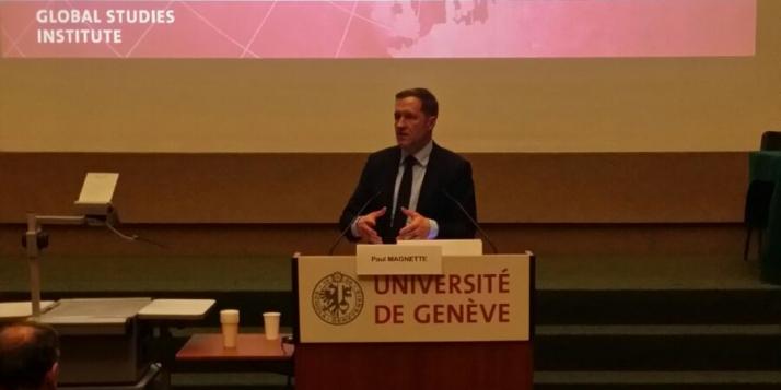 """Intervention du Ministre-Président de la Wallonie, Paul Magnette, lors de la table ronde """"Commerce international et démocratie"""" à l'Université de Genève"""