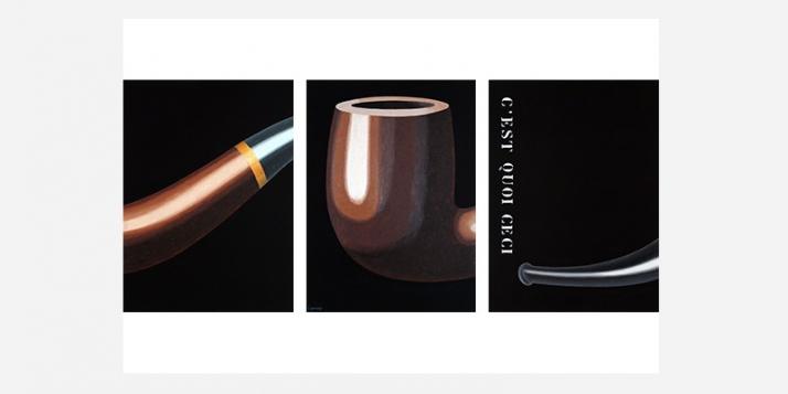"""Lennep, """"Peinture casse pipe"""", 2009, huile, acrylique et craie sur toile, 3 x 64 x 47 cm, collection Jacques Lennep d'après l'oeuvre « La Trahison des Images » de René Magritte (1929) - cliquer pour agrandir"""