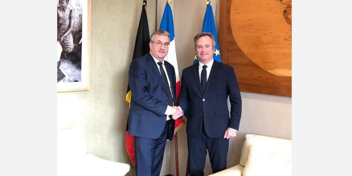 Pierre-Yves Jeholet, Ministre-Président de la Fédération Wallonie-Bruxelles, et Jean-Baptiste Lemoyne, Secrétaire d'État auprès du Ministre de l'Europe et des Affaires étrangères - cliquer pour agrandir