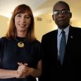 Mme Pascale Delcomminette, Administratrice générale de WBI, et Mr  Antonio Rodrigue, Ministre des Affaires Etrangères et des Cultes de la République d'Haïti - cliquer pour agrandir