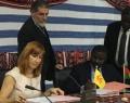 Pascale Delcomminette, Administratrice générale de WBI, et Dieudonné Désiré Sougouri, Secrétaire Général du Ministère des affaires étrangères burkinabé