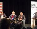 Florent Montaclair (président de la Société internationale de philologie), Martin Legros ( Rédacteur en chef Philosophie Magazine), Carlo Cecchetto ( Université Paris Lumières) et et  Noam Chomsky