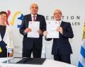 Mme Alda Greoli, Ministre de la Culture FWB, Son Excellence Mr l'Ambassadeur d'Uruguay Carlos Perez del Castillo et Rudy Demotte, Ministre-Président de la FWB